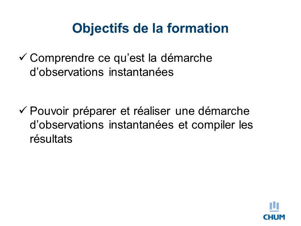 Objectifs de la formation Comprendre ce qu'est la démarche d'observations instantanées Pouvoir préparer et réaliser une démarche d'observations instan