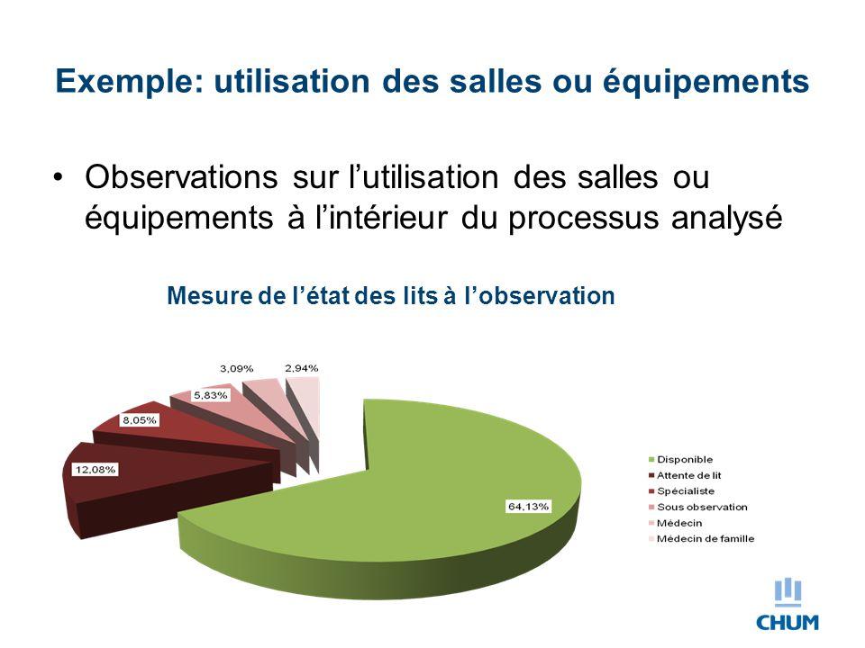 Exemple: utilisation des salles ou équipements Observations sur l'utilisation des salles ou équipements à l'intérieur du processus analysé Mesure de l