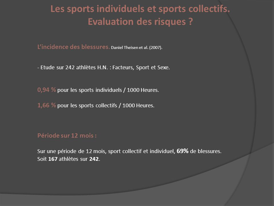 Les sports individuels et sports collectifs. Evaluation des risques .