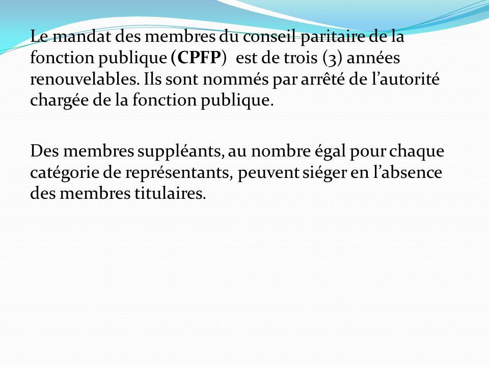 Le mandat des membres du conseil paritaire de la fonction publique (CPFP) est de trois (3) années renouvelables. Ils sont nommés par arrêté de l'autor