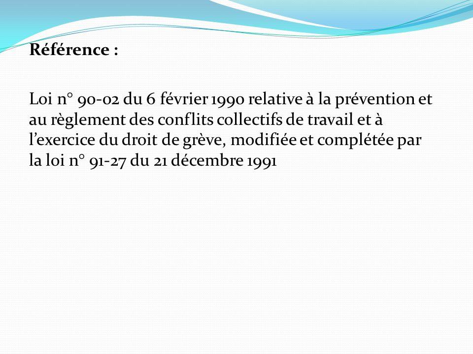 Référence : Loi n° 90-02 du 6 février 1990 relative à la prévention et au règlement des conflits collectifs de travail et à l'exercice du droit de grè