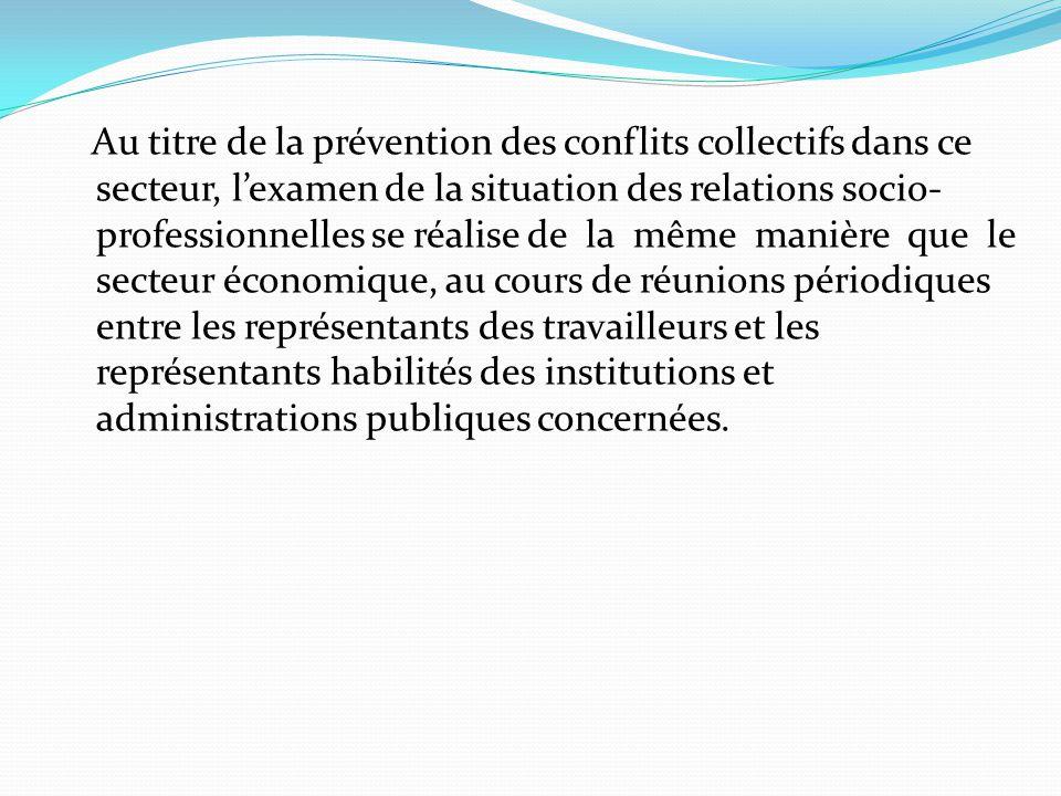 Au titre de la prévention des conflits collectifs dans ce secteur, l'examen de la situation des relations socio- professionnelles se réalise de la mêm