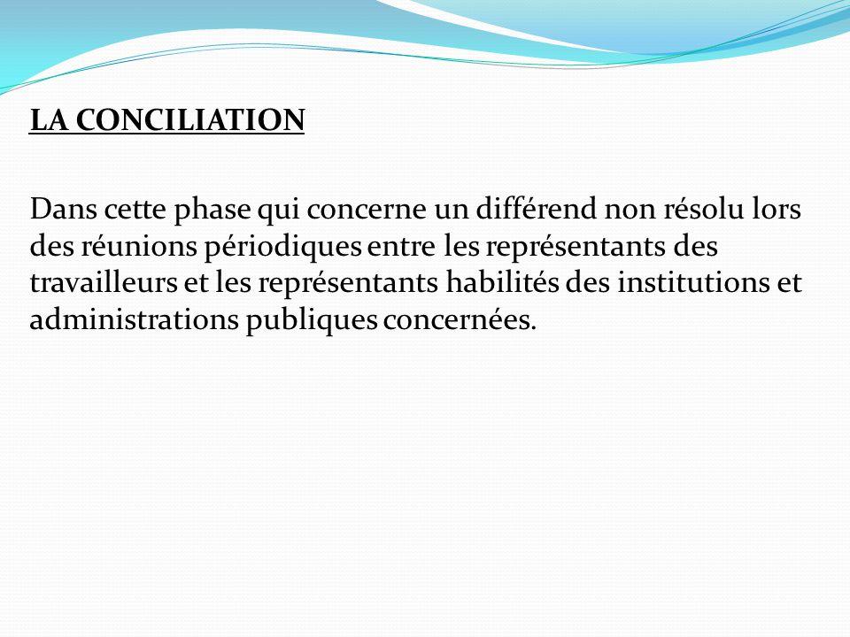 LA CONCILIATION Dans cette phase qui concerne un différend non résolu lors des réunions périodiques entre les représentants des travailleurs et les représentants habilités des institutions et administrations publiques concernées.