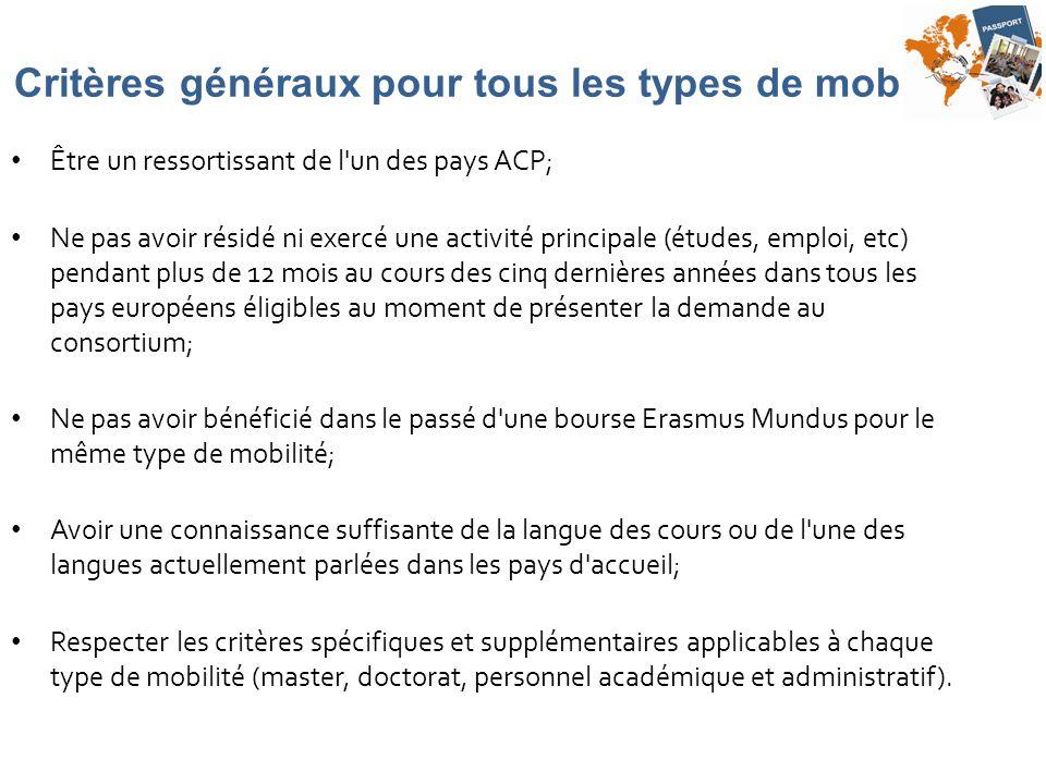 Critères généraux pour tous les types de mobilité Être un ressortissant de l'un des pays ACP; Ne pas avoir résidé ni exercé une activité principale (é