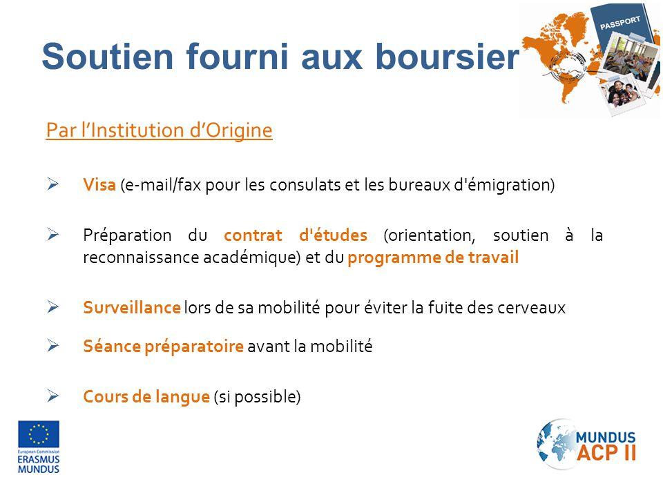Par l'Institution d'Origine  Visa (e-mail/fax pour les consulats et les bureaux d'émigration)  Préparation du contrat d'études (orientation, soutien