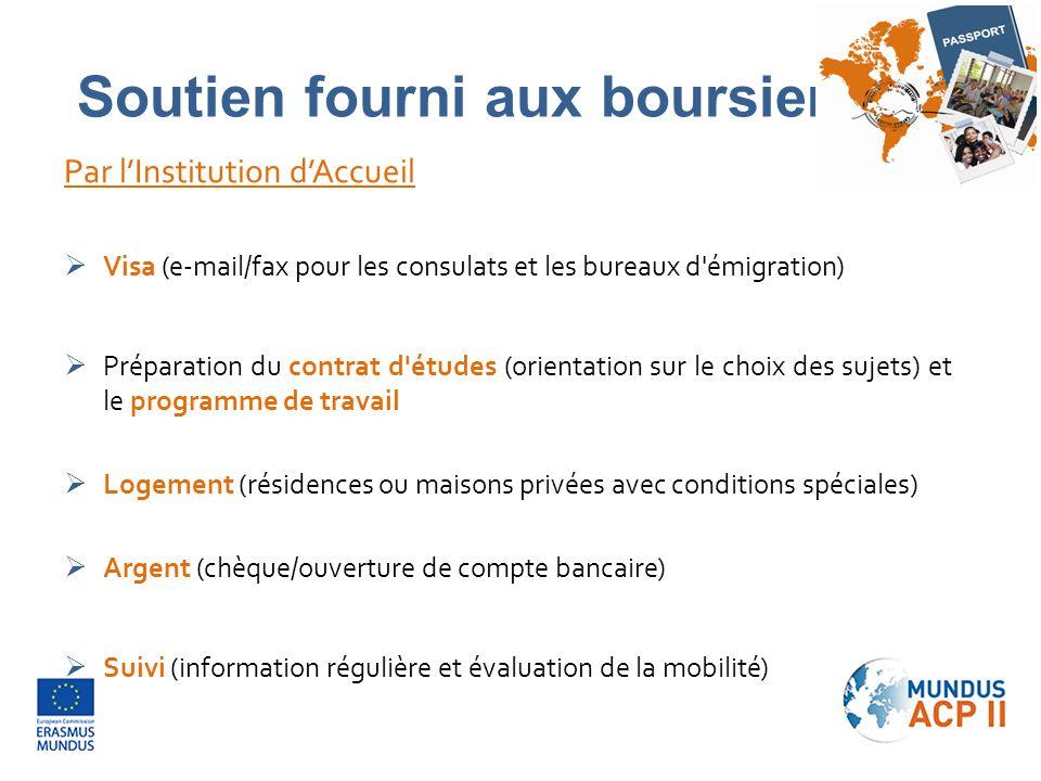 Par l'Institution d'Accueil  Visa (e-mail/fax pour les consulats et les bureaux d'émigration)  Préparation du contrat d'études (orientation sur le c