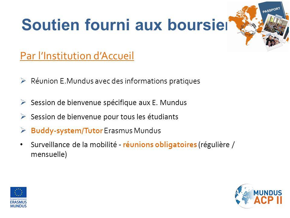 Par l'Institution d'Accueil  Réunion E.Mundus avec des informations pratiques  Session de bienvenue spécifique aux E. Mundus  Session de bienvenue