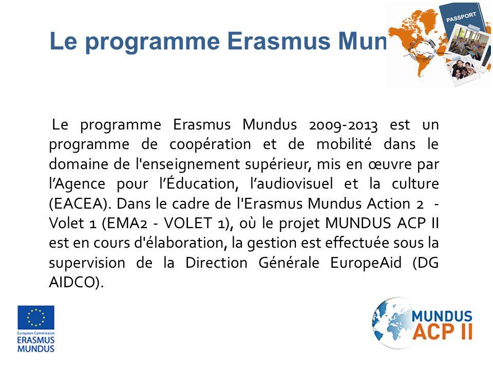 Les principaux objectifs de l EMA2 - Volet 1 sont les suivants: Promouvoir l enseignement supérieur européen; Encourager le renforcement et l amélioration des perspectives de carrière des étudiants; Favoriser la compréhension interculturelle par la coopération avec les pays tiers, en harmonie avec les objectifs européens de politique extérieure, en vue de contribuer au développement durable des pays tiers de l enseignement supérieur.