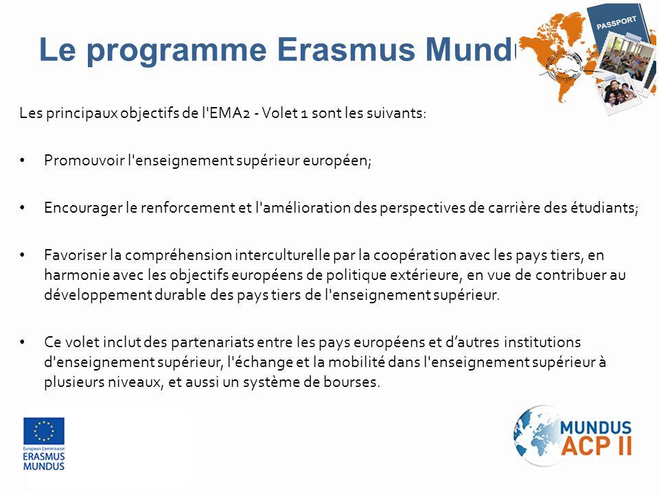 Les principaux objectifs de l'EMA2 - Volet 1 sont les suivants: Promouvoir l'enseignement supérieur européen; Encourager le renforcement et l'améliora
