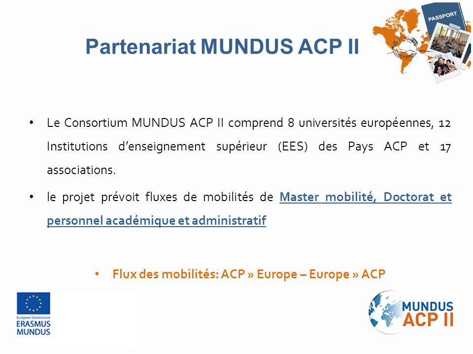 Le Consortium MUNDUS ACP II comprend 8 universités européennes, 12 Institutions d'enseignement supérieur (EES) des Pays ACP et 17 associations. le pro