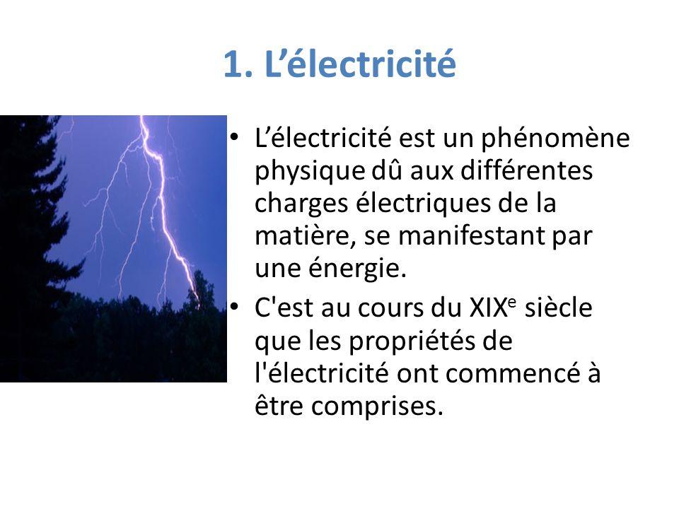 1. L'électricité L'électricité est un phénomène physique dû aux différentes charges électriques de la matière, se manifestant par une énergie. C'est a