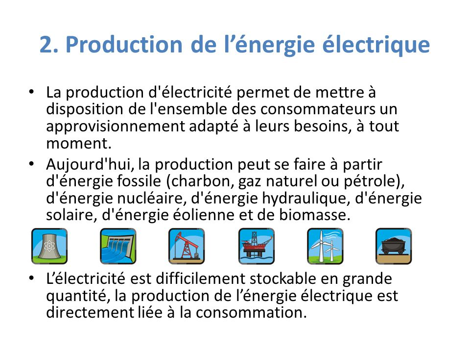 Principales transformations d'énergies primaires