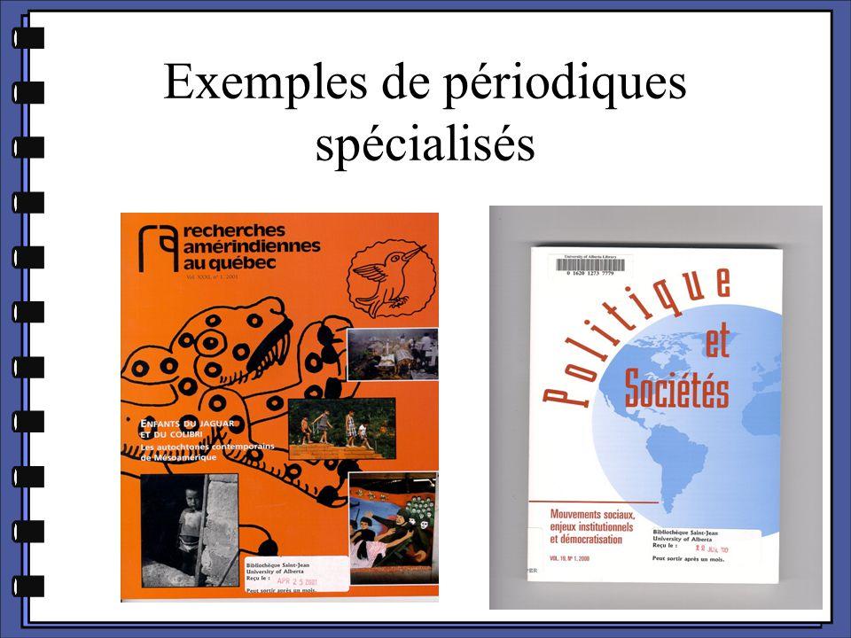 Exemples de périodiques spécialisés