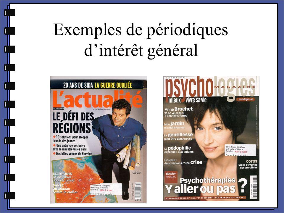 Exemples de périodiques d'intérêt général