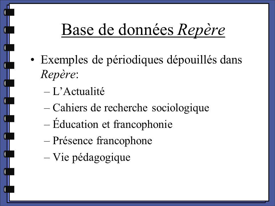 Base de données Repère Exemples de périodiques dépouillés dans Repère: –L'Actualité –Cahiers de recherche sociologique –Éducation et francophonie –Pré