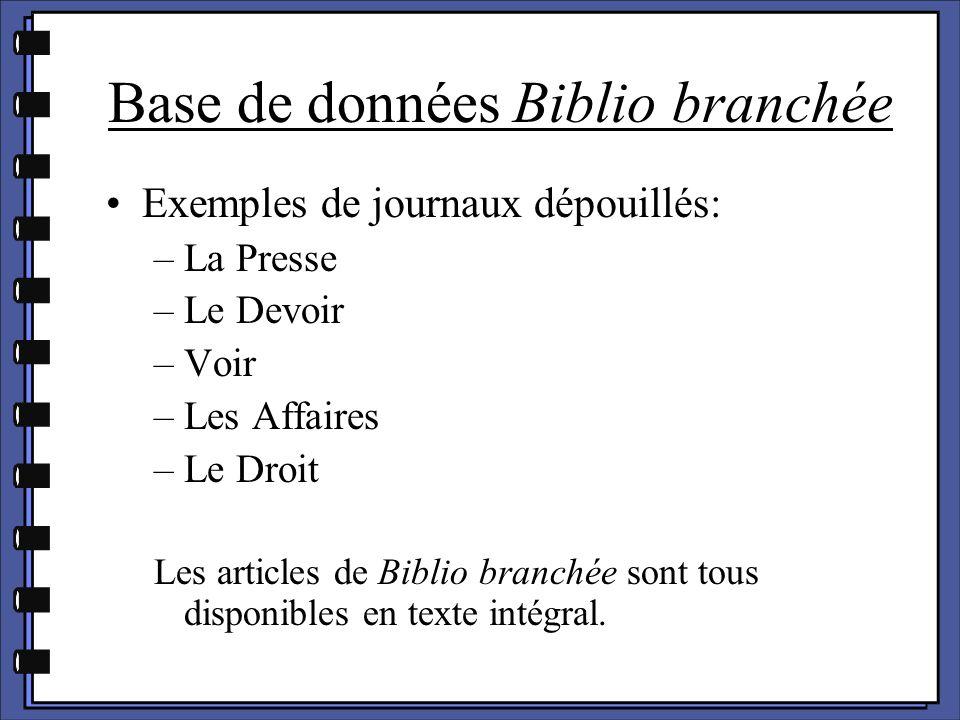 Exemples de journaux dépouillés: –La Presse –Le Devoir –Voir –Les Affaires –Le Droit Les articles de Biblio branchée sont tous disponibles en texte in