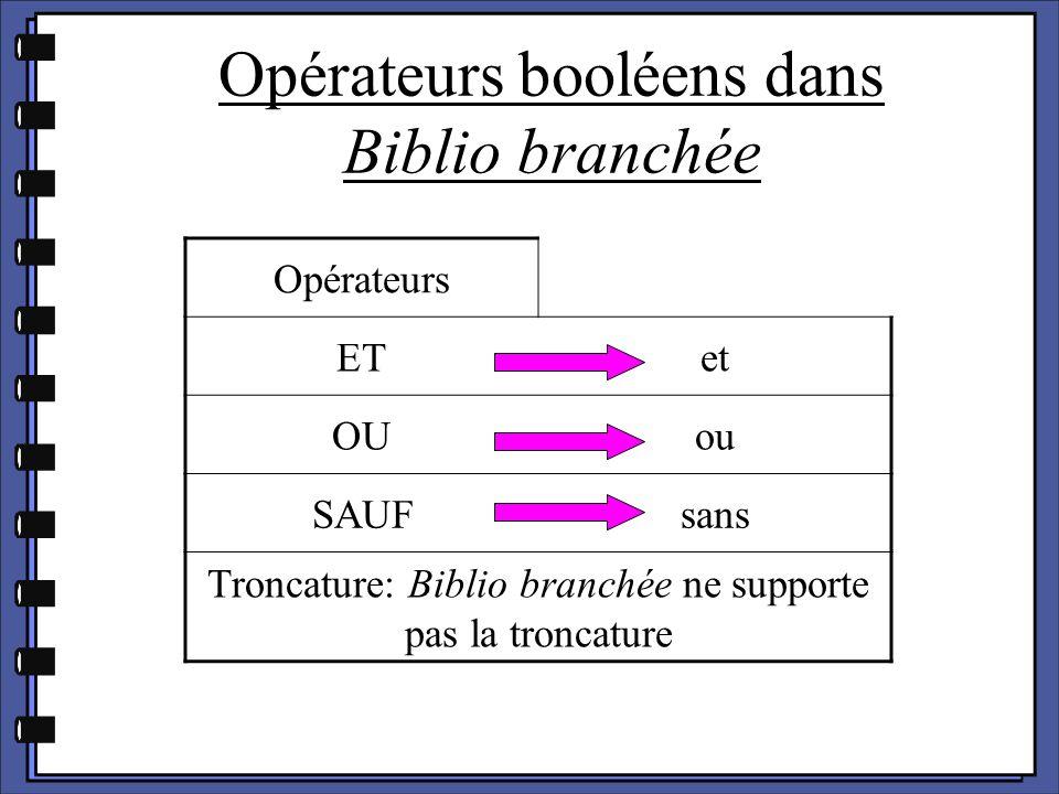 Opérateurs booléens dans Biblio branchée Opérateurs ETet OUou SAUFsans Troncature: Biblio branchée ne supporte pas la troncature