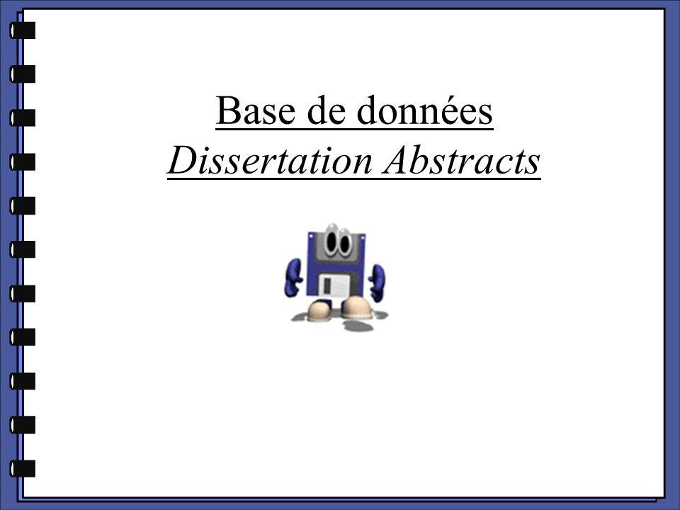 Base de données Dissertation Abstracts