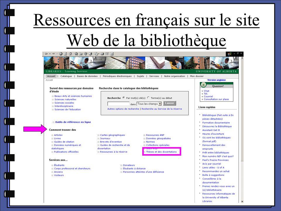 Ressources en français sur le site Web de la bibliothèque