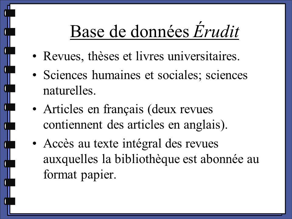 Revues, thèses et livres universitaires. Sciences humaines et sociales; sciences naturelles. Articles en français (deux revues contiennent des article