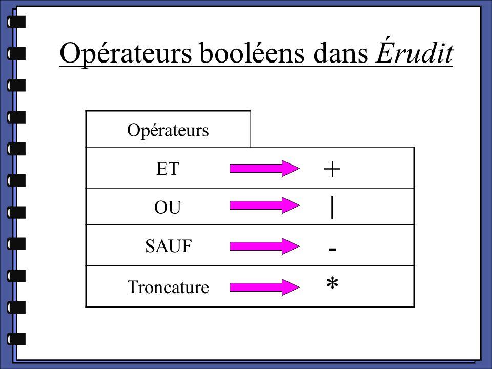 Opérateurs booléens dans Érudit Opérateurs ET + OU│ SAUF - Troncature *