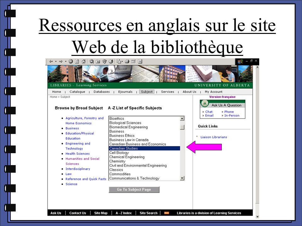 Ressources en anglais sur le site Web de la bibliothèque