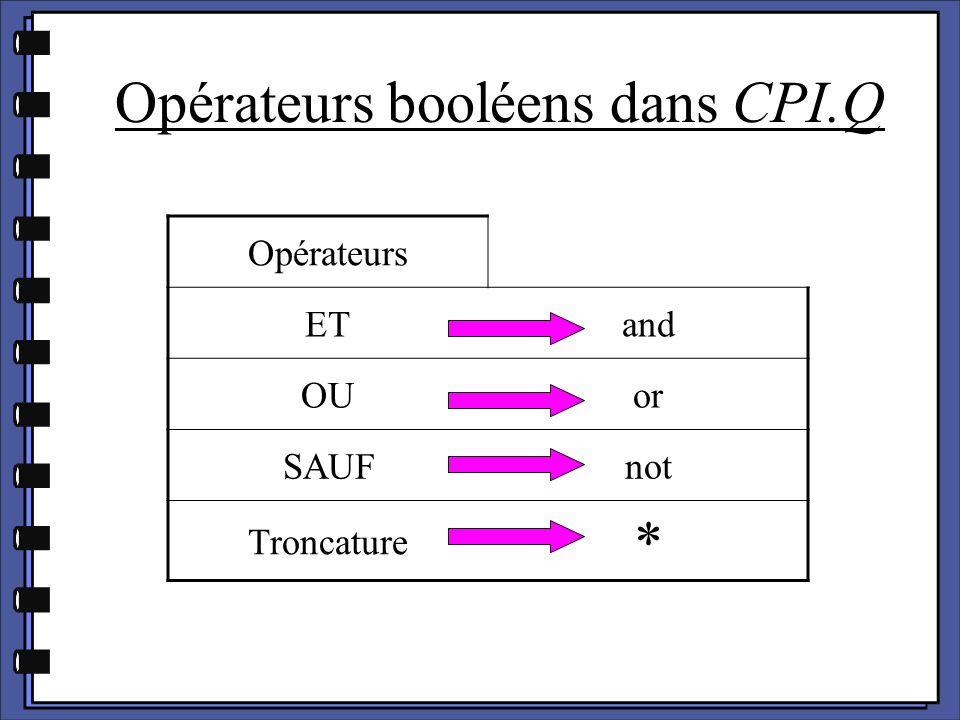 Opérateurs booléens dans CPI.Q Opérateurs ETand OUor SAUFnot Troncature *