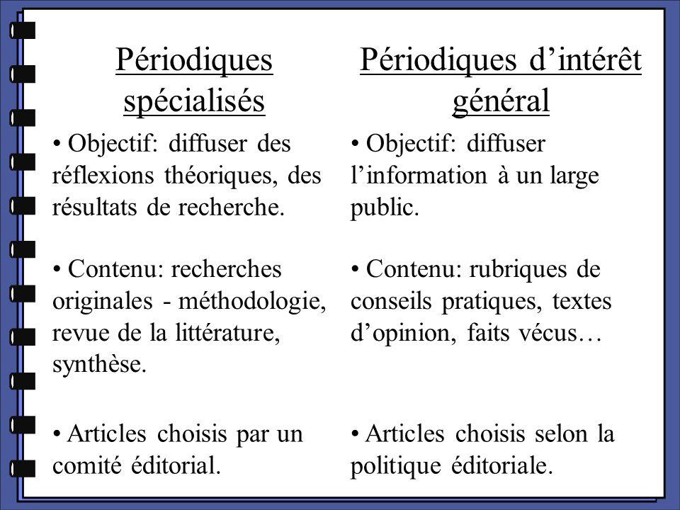 Périodiques spécialisés Périodiques d'intérêt général Objectif: diffuser des réflexions théoriques, des résultats de recherche. Objectif: diffuser l'i