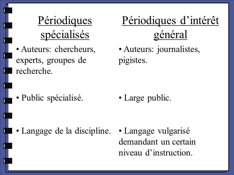 Périodiques spécialisés Périodiques d'intérêt général Bibliographies exhaustive.