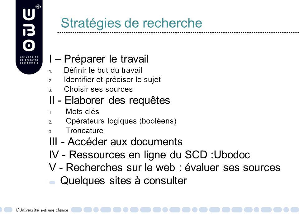 Stratégies de recherche I – Préparer le travail 1.
