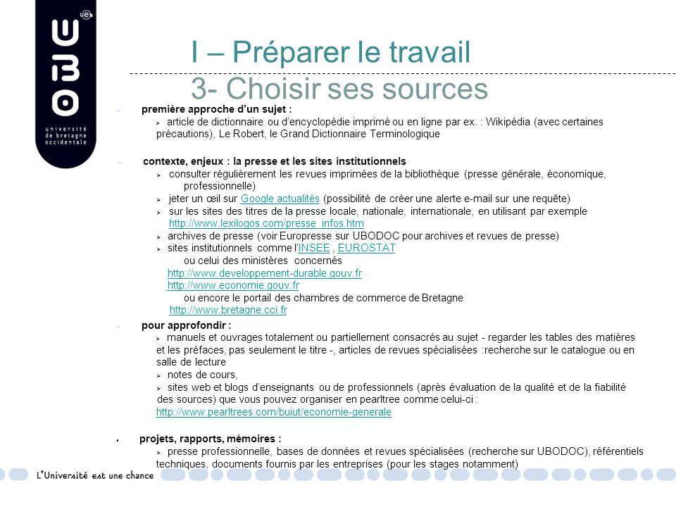 I – Préparer le travail 3- Choisir ses sources première approche d'un sujet :  article de dictionnaire ou d'encyclopédie imprimé ou en ligne par ex.
