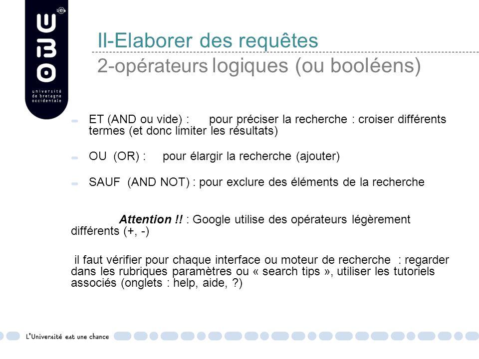 II-Elaborer des requêtes 2-opérateurs logiques (ou booléens) ET (AND ou vide) : pour préciser la recherche : croiser différents termes (et donc limiter les résultats) OU (OR) : pour élargir la recherche (ajouter) SAUF (AND NOT) : pour exclure des éléments de la recherche Attention !.