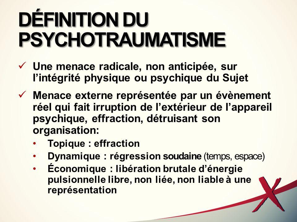 DÉFINITION DU PSYCHOTRAUMATISME Une menace radicale, non anticipée, sur l'intégrité physique ou psychique du Sujet Menace externe représentée par un é