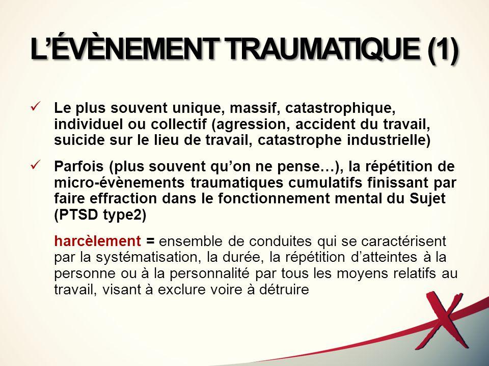 L'ÉVÈNEMENT TRAUMATIQUE (1) Le plus souvent unique, massif, catastrophique, individuel ou collectif (agression, accident du travail, suicide sur le li