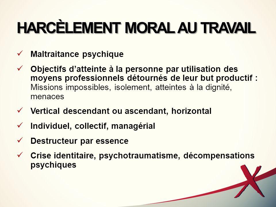 HARCÈLEMENT MORAL AU TRAVAIL Maltraitance psychique Objectifs d'atteinte à la personne par utilisation des moyens professionnels détournés de leur but