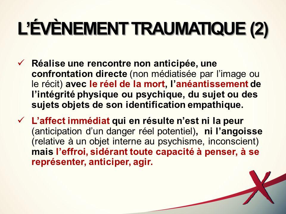 L'ÉVÈNEMENT TRAUMATIQUE (2) Réalise une rencontre non anticipée, une confrontation directe (non médiatisée par l'image ou le récit) avec le réel de la