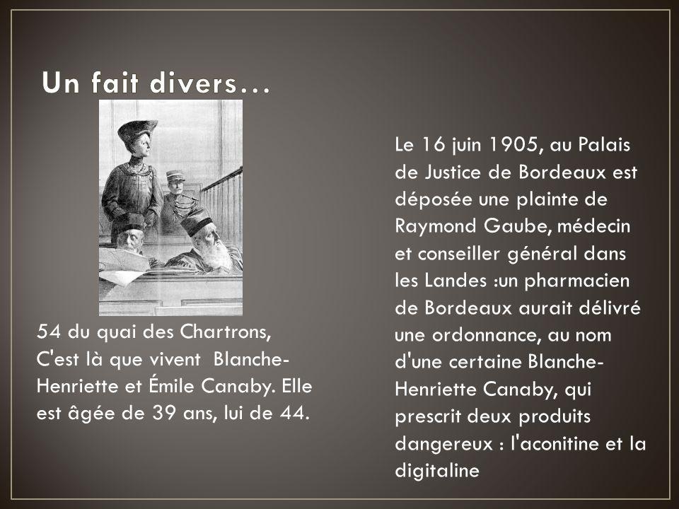 Le 16 juin 1905, au Palais de Justice de Bordeaux est déposée une plainte de Raymond Gaube, médecin et conseiller général dans les Landes :un pharmaci