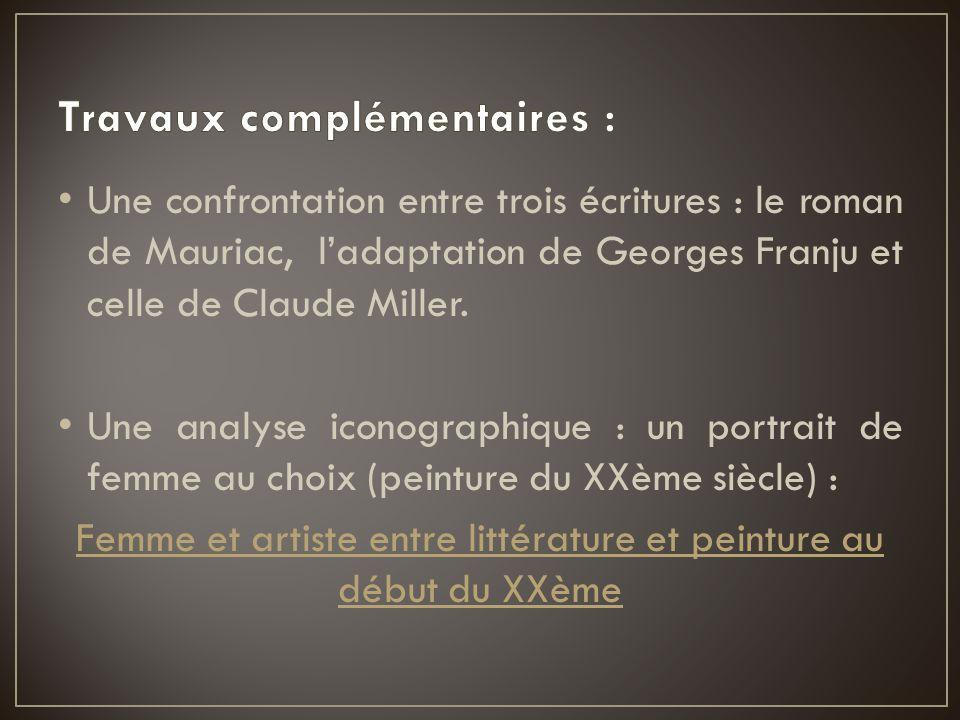 Une confrontation entre trois écritures : le roman de Mauriac, l'adaptation de Georges Franju et celle de Claude Miller. Une analyse iconographique :