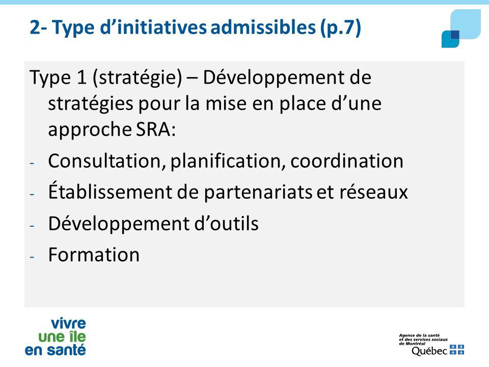 2- Type d'initiatives admissibles (p.7) Type 1 (stratégie) – Développement de stratégies pour la mise en place d'une approche SRA: - Consultation, pla