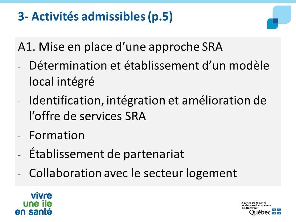 3- Activités admissibles (p.5) A1. Mise en place d'une approche SRA - Détermination et établissement d'un modèle local intégré - Identification, intég