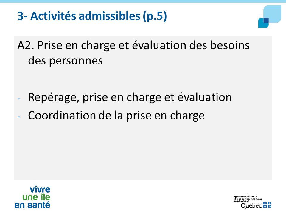 3- Activités admissibles (p.5) A2. Prise en charge et évaluation des besoins des personnes - Repérage, prise en charge et évaluation - Coordination de