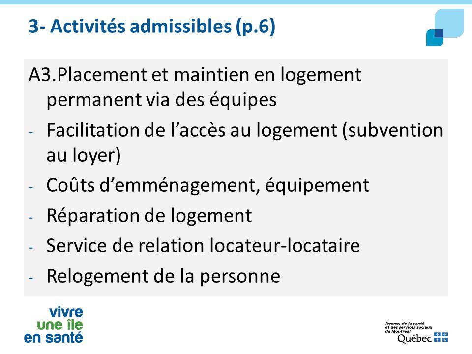 3- Activités admissibles (p.6) A3.Placement et maintien en logement permanent via des équipes - Facilitation de l'accès au logement (subvention au loy