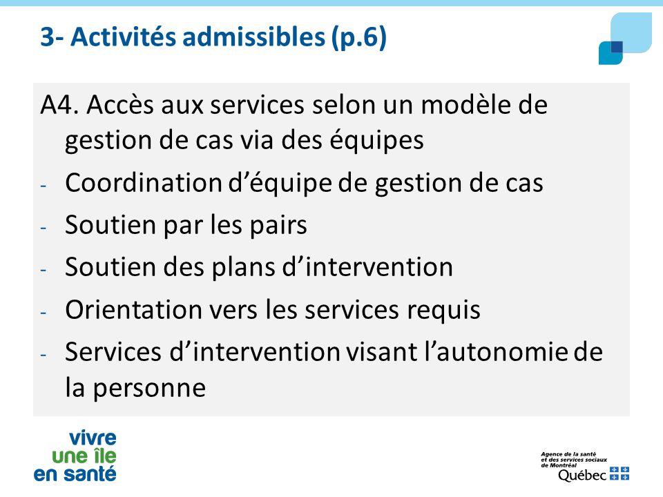 3- Activités admissibles (p.6) A4. Accès aux services selon un modèle de gestion de cas via des équipes - Coordination d'équipe de gestion de cas - So