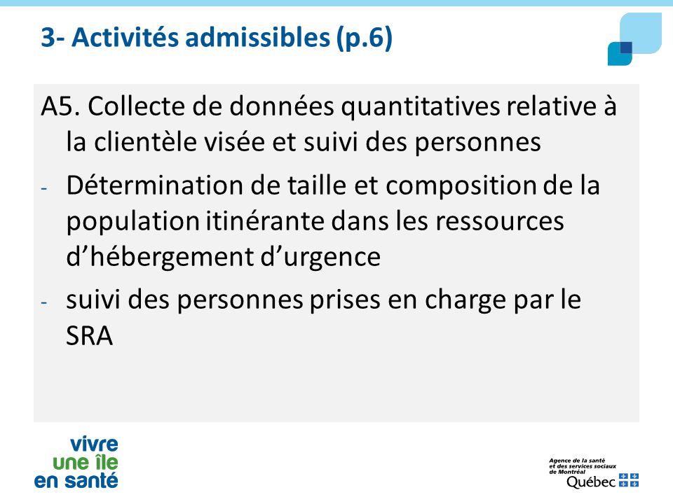 3- Activités admissibles (p.6) A5. Collecte de données quantitatives relative à la clientèle visée et suivi des personnes - Détermination de taille et