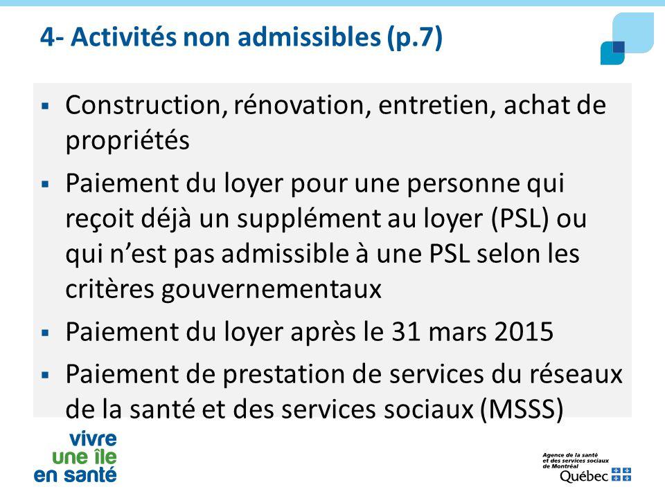 4- Activités non admissibles (p.7)  Construction, rénovation, entretien, achat de propriétés  Paiement du loyer pour une personne qui reçoit déjà un