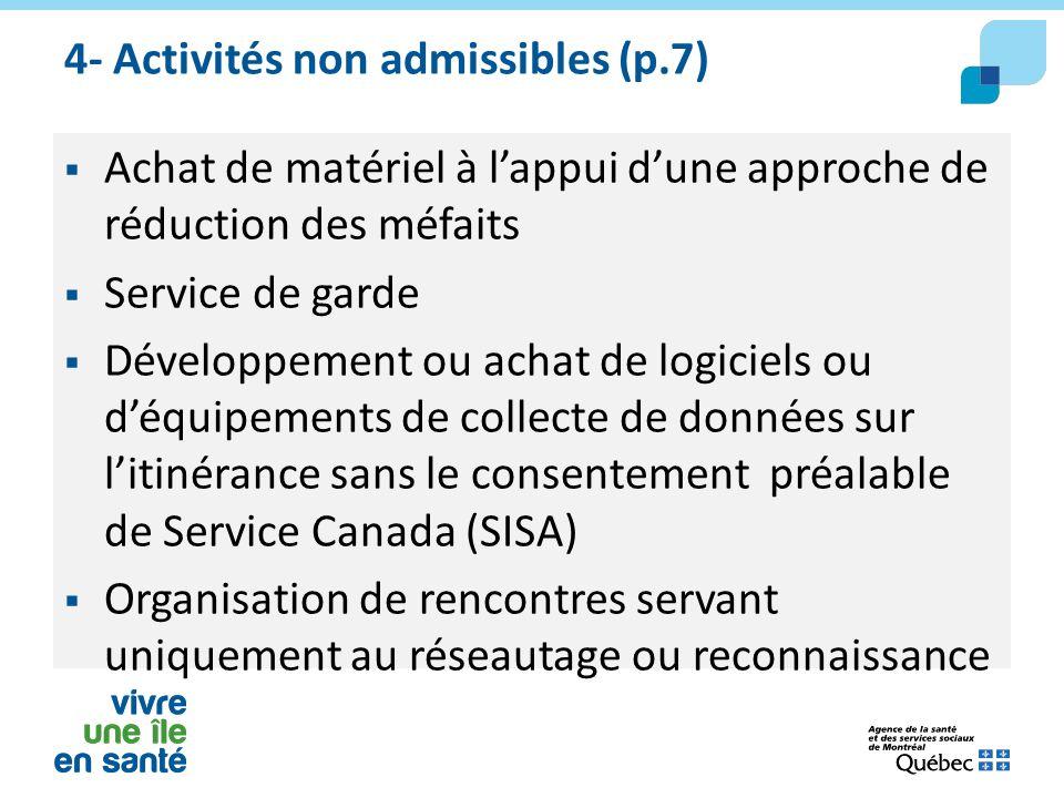 4- Activités non admissibles (p.7)  Achat de matériel à l'appui d'une approche de réduction des méfaits  Service de garde  Développement ou achat d