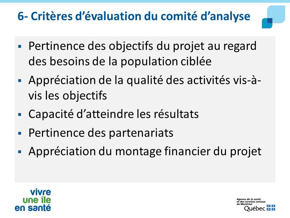 6- Critères d'évaluation du comité d'analyse  Pertinence des objectifs du projet au regard des besoins de la population ciblée  Appréciation de la q