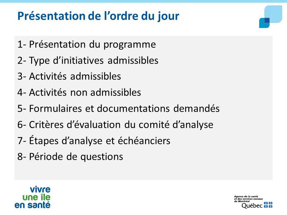 Présentation de l'ordre du jour 1- Présentation du programme 2- Type d'initiatives admissibles 3- Activités admissibles 4- Activités non admissibles 5