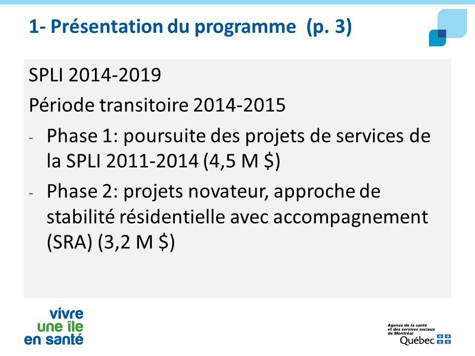 1- Présentation du programme (p. 3) SPLI 2014-2019 Période transitoire 2014-2015 - Phase 1: poursuite des projets de services de la SPLI 2011-2014 (4,