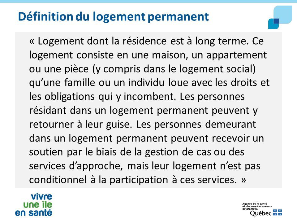 Définition du logement permanent « Logement dont la résidence est à long terme. Ce logement consiste en une maison, un appartement ou une pièce (y com